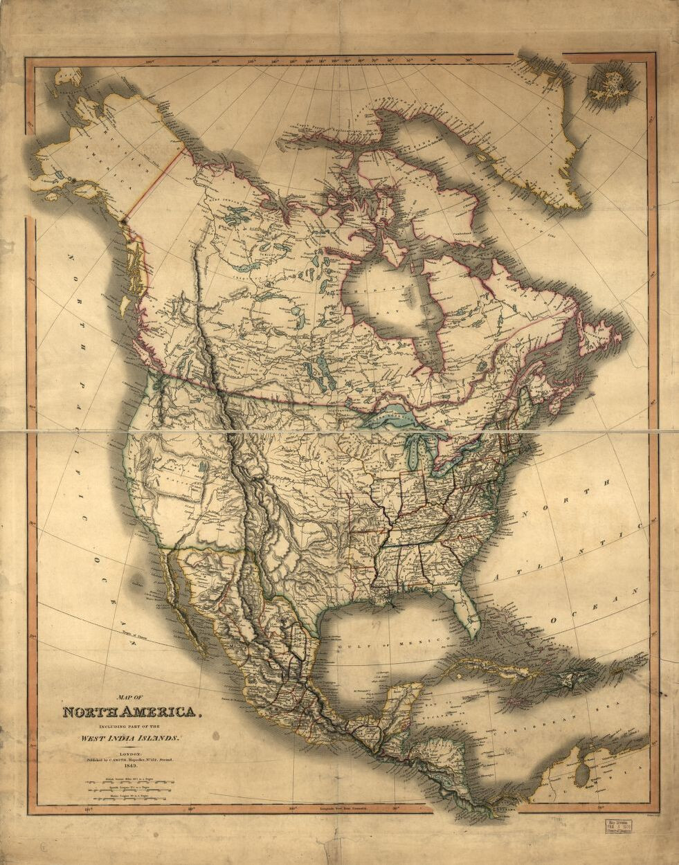 Map of North America from 1849 - Library of Congress