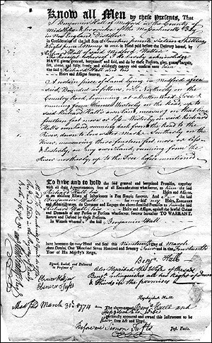 Deed showing the transfer of property from Benjamin Hall to Richard Hall, 1774.