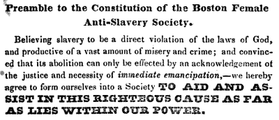 Preamble to the constitution of the Boston Female Anti-Slavery Society, ca.1836