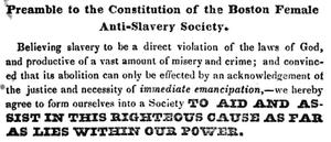 Preamble to the constitution of the Boston Female Anti-Slavery Society, ca.1836