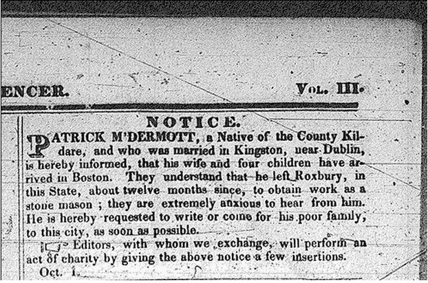 The first Information Wanted ad in the Boston Pilot, October 1831