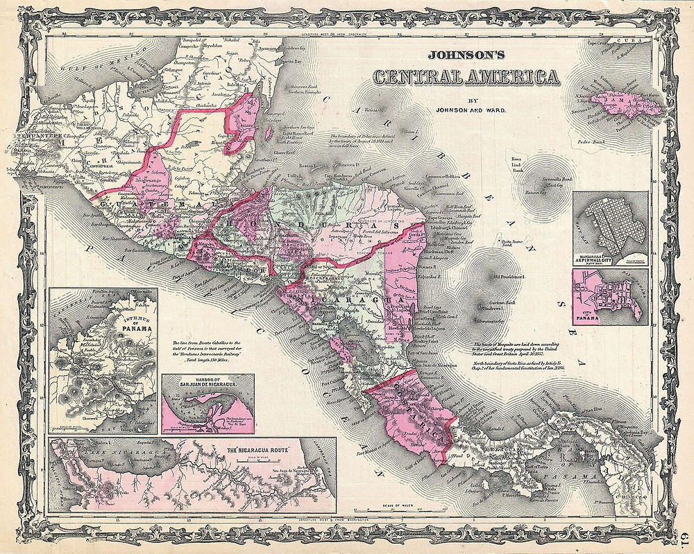 A. J. Johnson and Ward's 1862 map of Central America