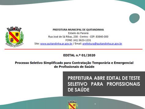Prefeitura abre edital de teste seletivo para profissionais de saúde