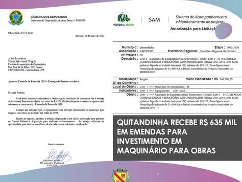 Quitandinha recebe R$ 635 mil reais em investimento para maquinário de obras