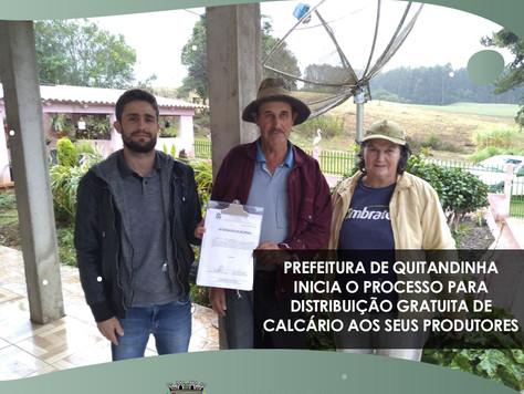 Prefeitura de Quitandinha inicia o processo para distribuição gratuita de calcário aos seus produtor