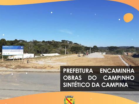 Prefeitura encaminha obras do campinho sintético da Campina