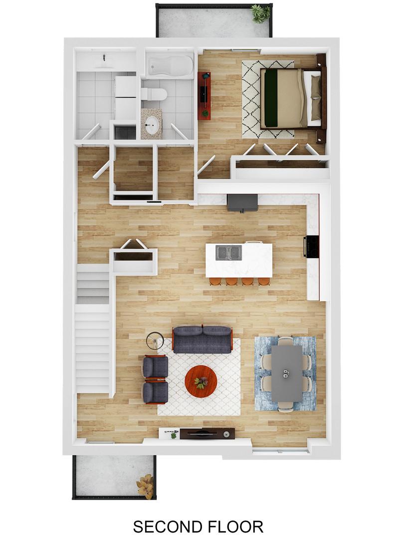 2nd Floor 3D Plan - Oak Bend - For Sale