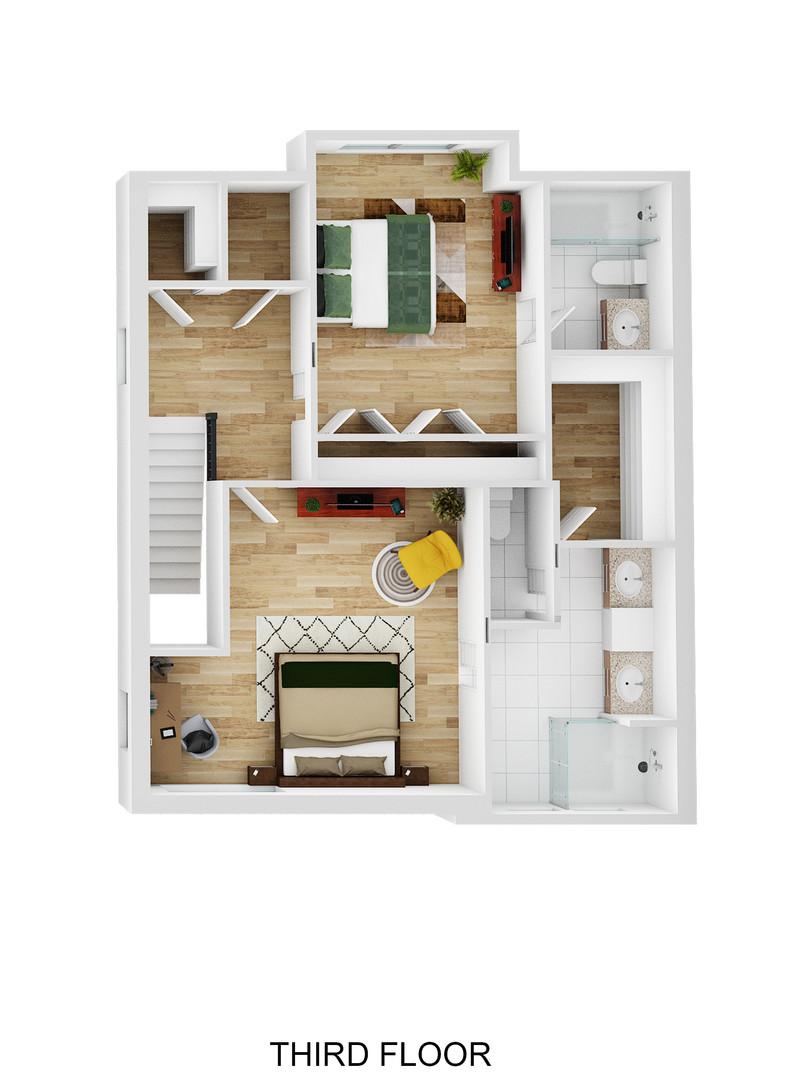 3rd Floor 3D Plan - Oak Bend - For Sale
