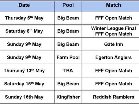 Upcoming Matches w/c 03/05/21
