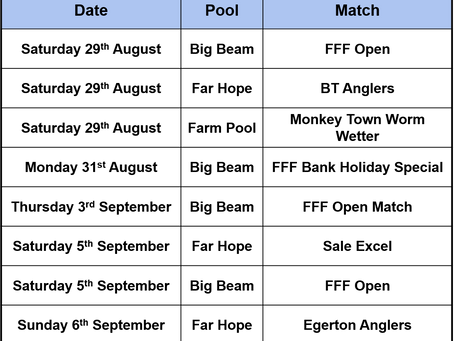 Matches for the next week