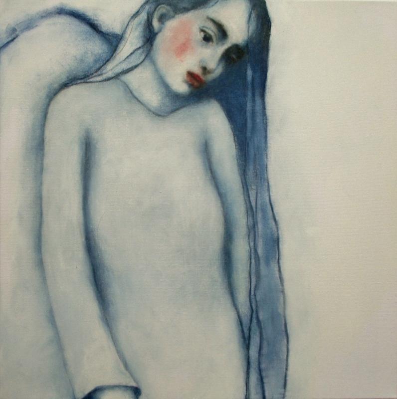 im blauen Kleid