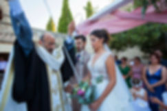 Greek Orthodox ceremony. The wedding wreath got knotting on the wedding bouquet.