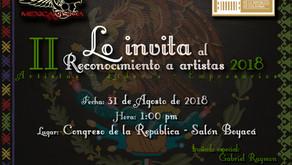 El 31 de agosto viene el II Reconocimiento a artistas 2018