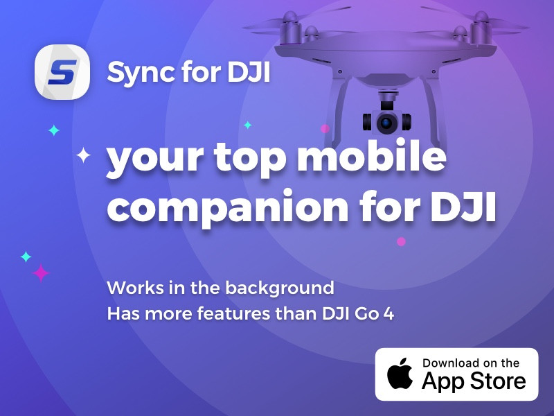Sync for DJI - Free background, yet robust download and share of media