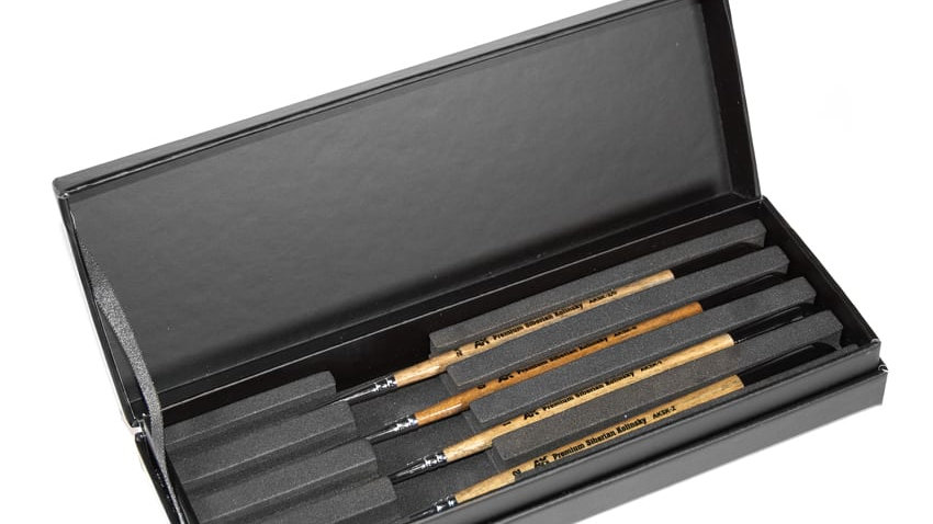 AK Interactive Premium Siberian Kolinsky Sable Brushes Full Range inc Boxed Set
