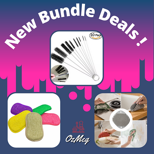 Cleaning Bundle Kit - Silicone Scrubber, Cleaning Brushes & Scouring/Soft Sponge