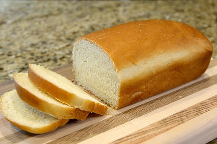 Image of sandwich bread loaf sliced evenly