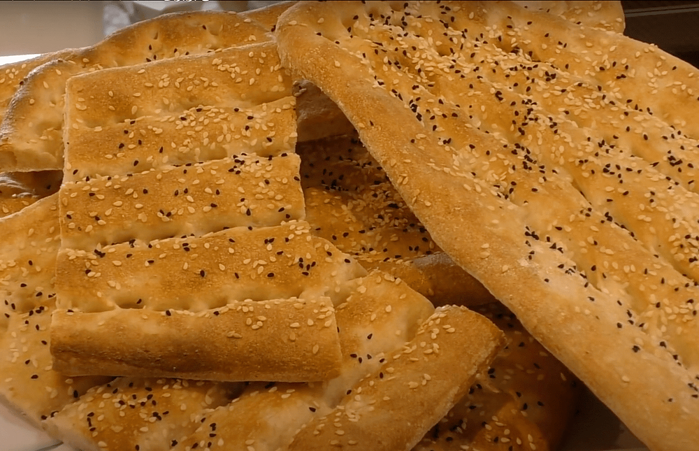 Sliced Homemade Persian Iranian Barbari Bread