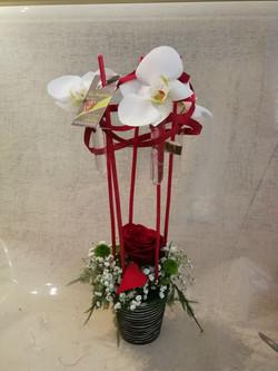 Composition florale en hauteur