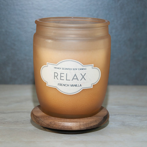 RELAX -Wooden Lid Glass Jar Soy Wax Candles