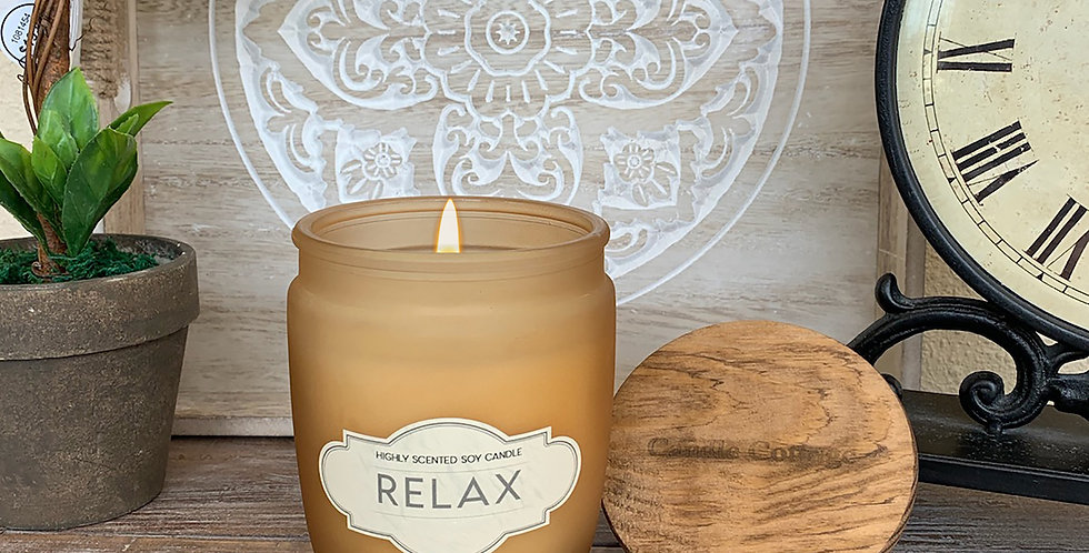 RELAX - Wooden Lid Glass Jar Soy Wax Candles