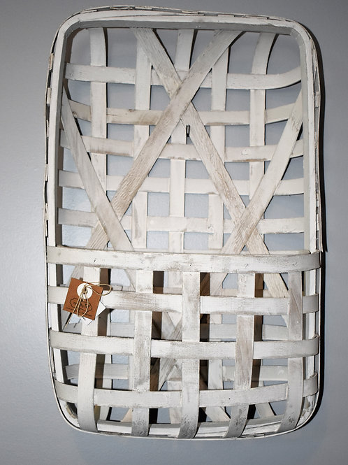 Mud Pie White Wall Pocket Tobacco Basket