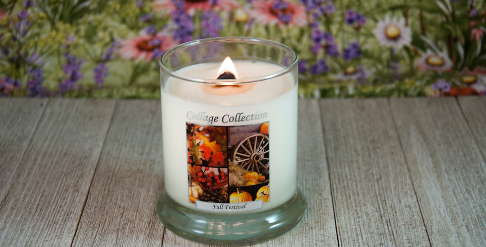 Fall Festival Collage Candle