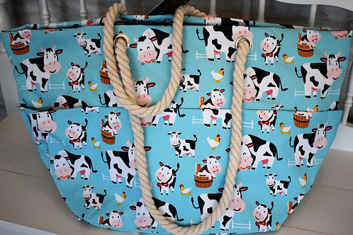 Cow in Town Beach Tote