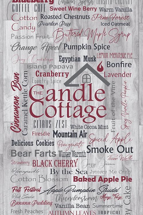 "Candle Cottage Sign - 12"" x 24"" Grey Fragrances"