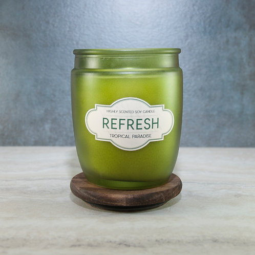 REFRESH -Wooden Lid Glass Jar Soy Wax Candles