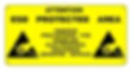 Targa in PVC adesivo o rigido, area protetta ESD
