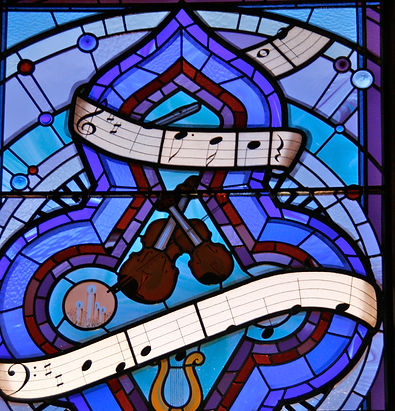 Stained glass music window at Manor Farm Ardley