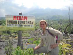 Liz with Merapi sign