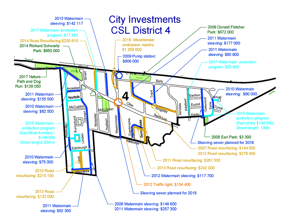 Cote Saint-Luc District 4 Map with Capital Projects