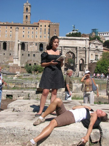 "Reading ""Friends, Romans, Countrymen"" (Julius Caeser) in the Roman Imperial Forum"