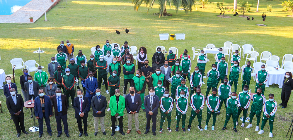 Delegates and Officials pose or a group picture during the send-off event held at the Japanese Ambassadors Residence in Lusaka