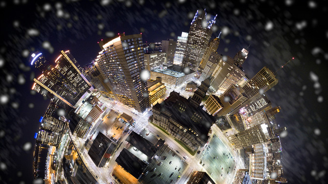 Incredible snowfall over Detroit