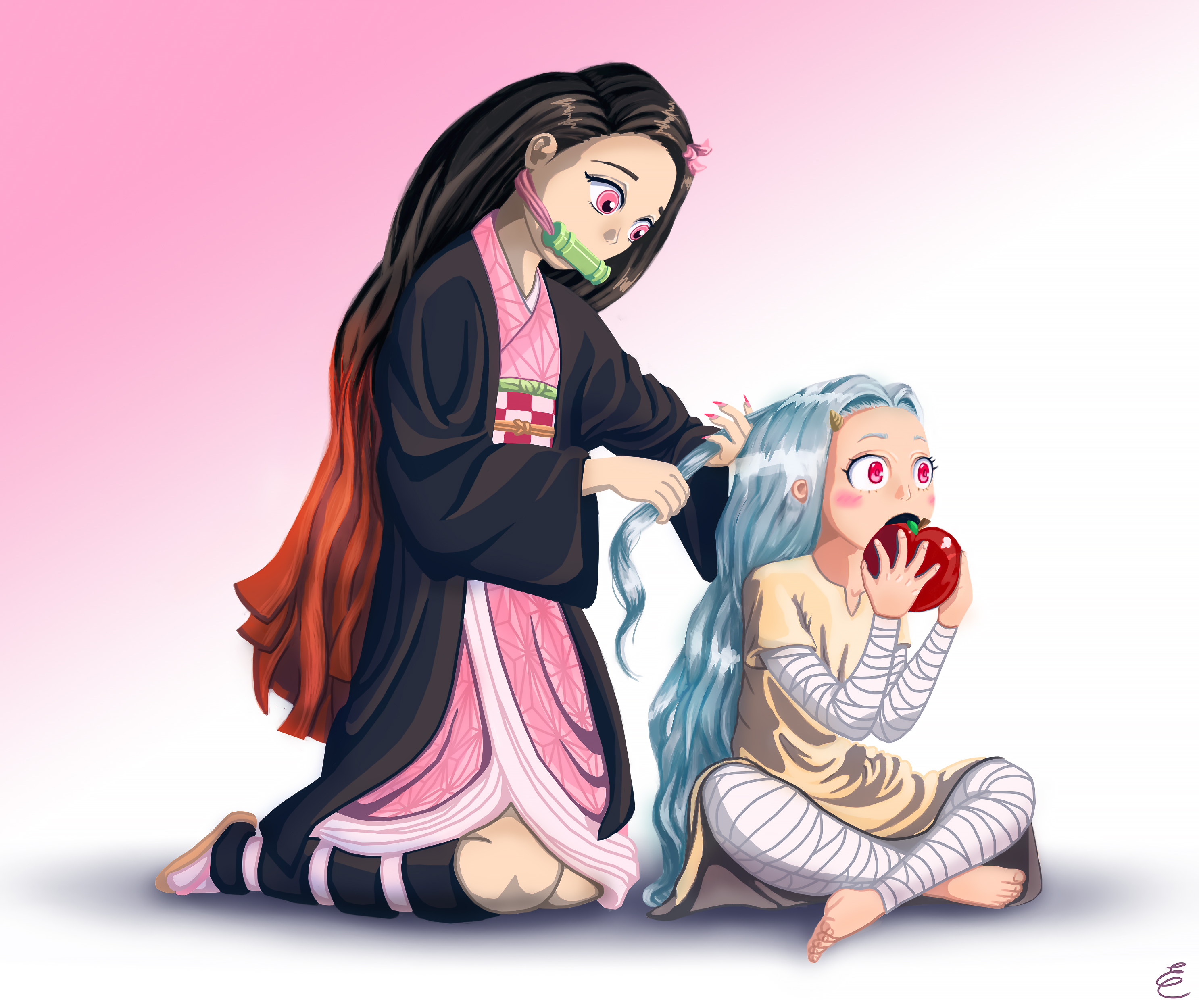Eri meets Nezuko (fan art crossover)
