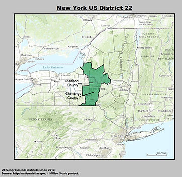 22nd Congressional District in New York State Map