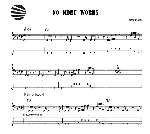NO MORE WORDS - SHEETMUSIC