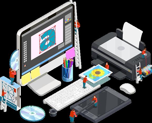 All graphic design elements contain in one picture that show MRMS provide great graphic design services in graphic design portfolio page