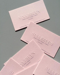 Embossing Business Card in pink color