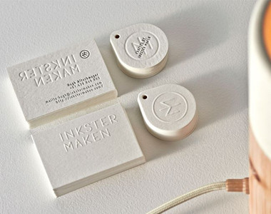 Embossing Business Card in white color