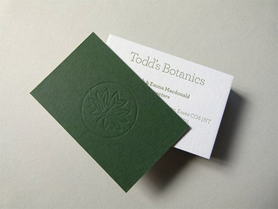 Debossing Business Card in green color