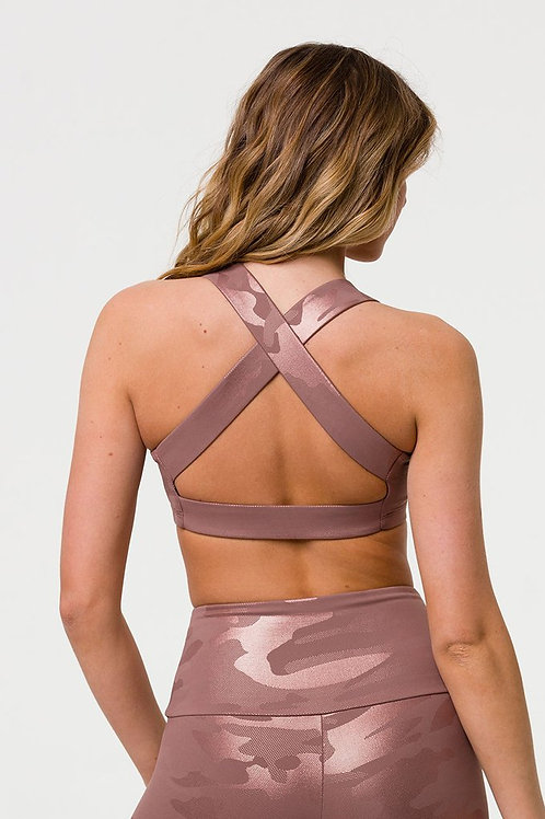 Onzie Half Moon Bra Rose Gold Camo