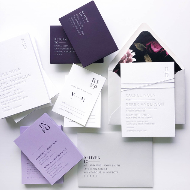 Modern Purple Invitation Suite