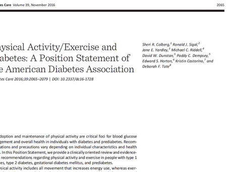 Physical Activity/Exercise and Diabetes (ADA Position Statement)