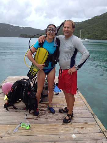 Sheri Colberg scuba diving with Steve Pr