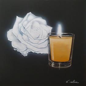 Rose et bougie - Éclaire-moi