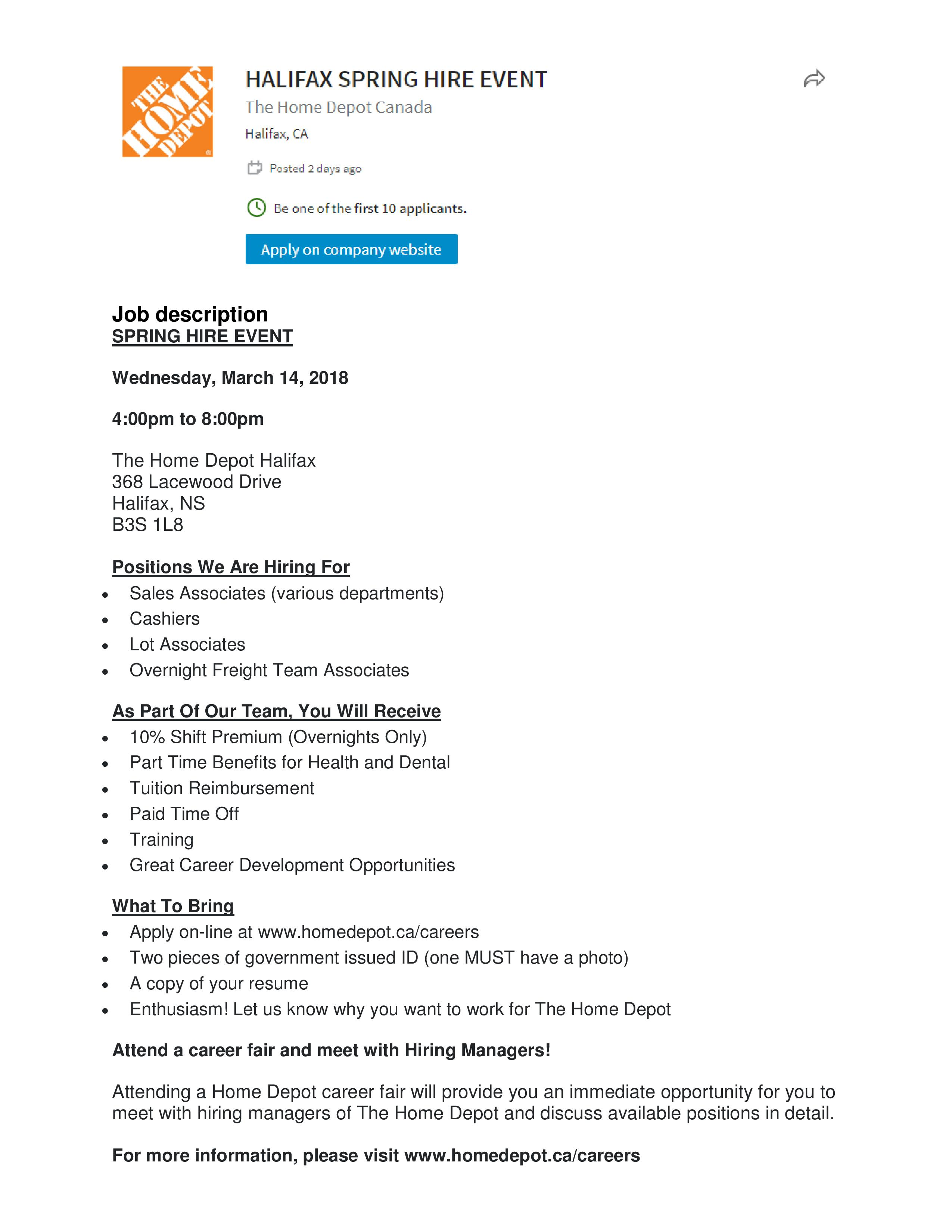 Home Depot - Halifax Spring Hire Event | Opportunity Place